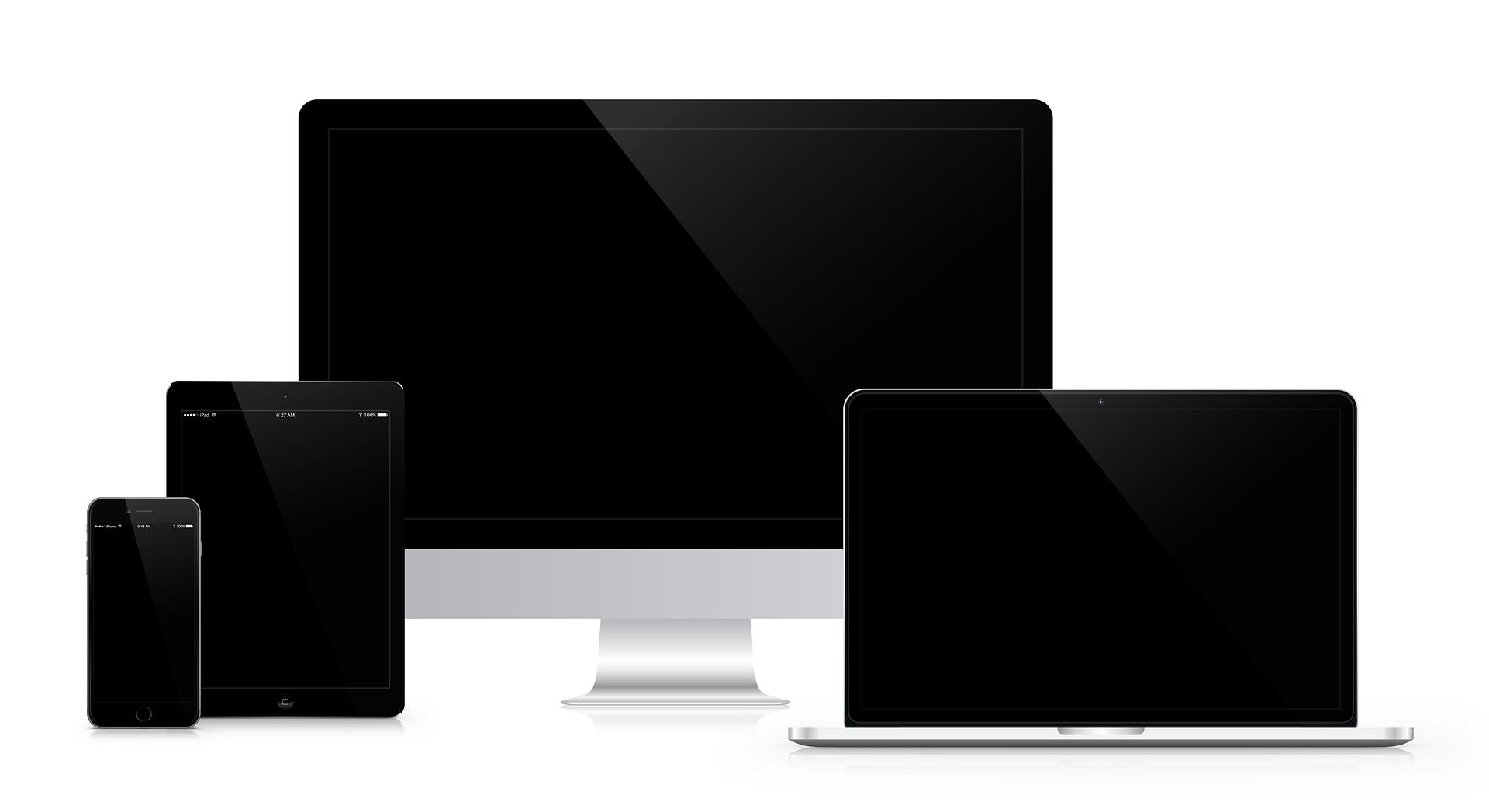 Displayer för tv-övervakning: mobil, surfplatta, skärm och dator.